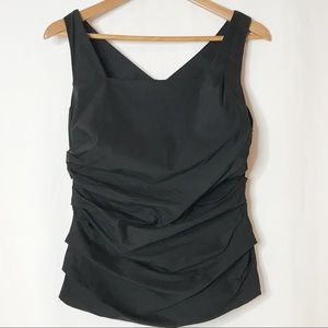 Ann Taylor Black Ruched Back Dressy Tank Top 8P